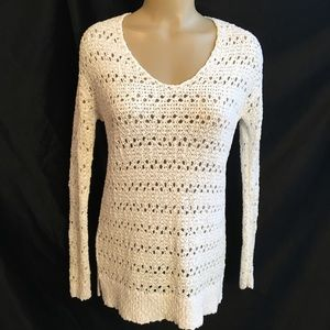 Ann Taylor White Long Sleeve Knit Sweater S NEW